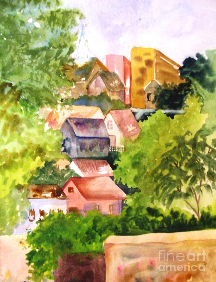 Village Hillside Painting by Sandi Stonebraker