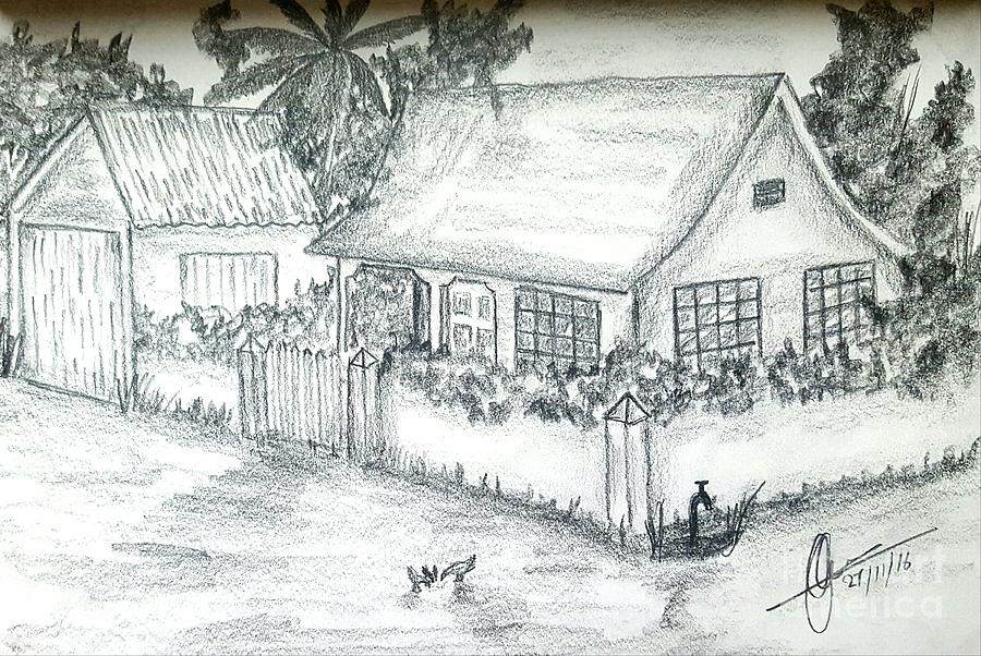 Pencil drawings drawing village home by collin a clarke