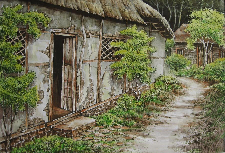 Village House Painting by Tultul Duwarah