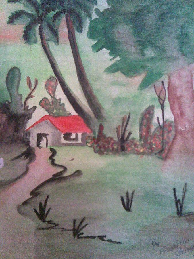 Village Hut Indian Landscape Painting - Village Hut by Nischitha Shenoy