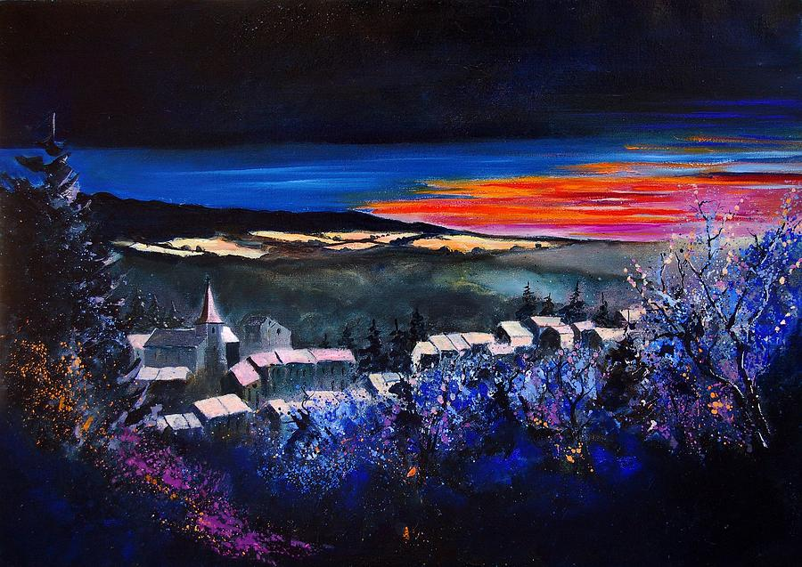 Landscape Painting - Village In A Winter Morninglight by Pol Ledent