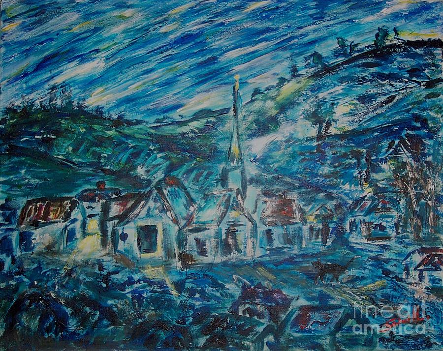 Acrylic Painting - Village In Blue  by Mary Sedici