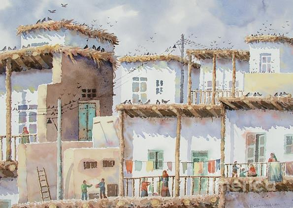 Village In Iran Painting by Reza Badrossama