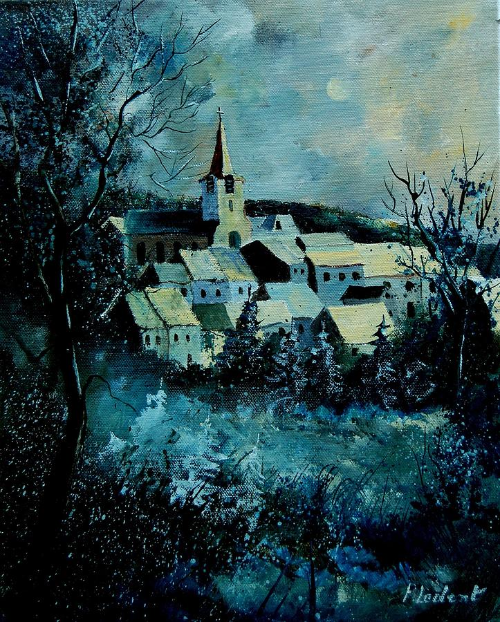 River Painting - Village in winter by Pol Ledent
