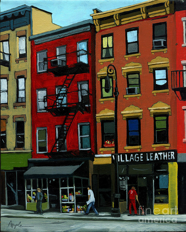 Cityscape Painting - Village Leather - New York Cityscape by Linda Apple