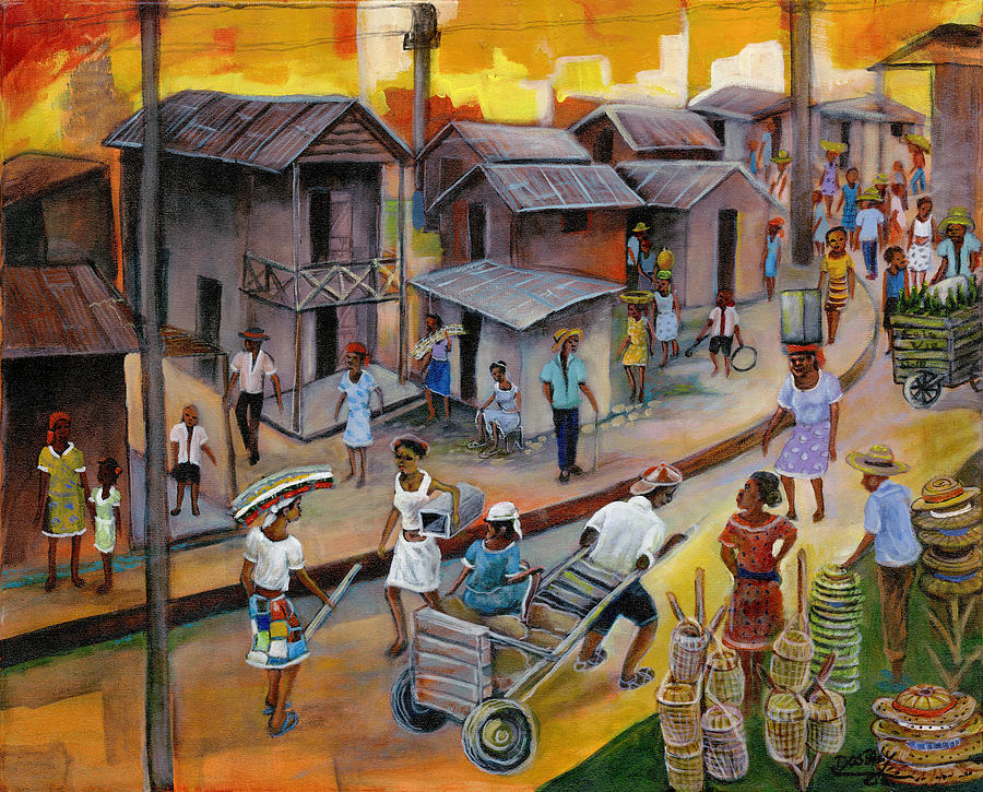 Haitian Painting - Village Market by Emmanuel Dostaly