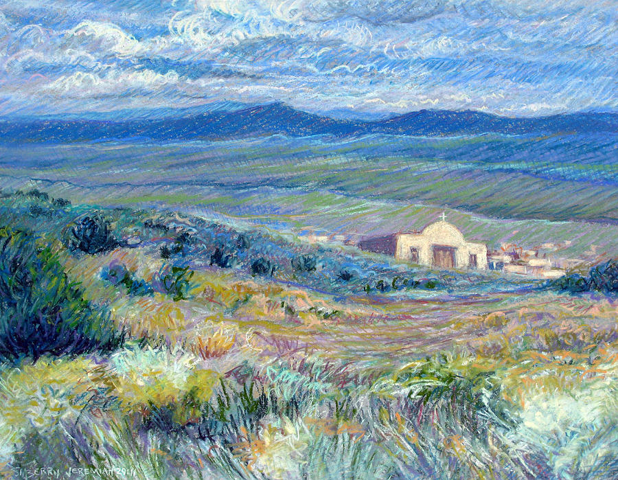 Pastel Landscape Painting - Village Mission Near Taos by Suzanne Berry