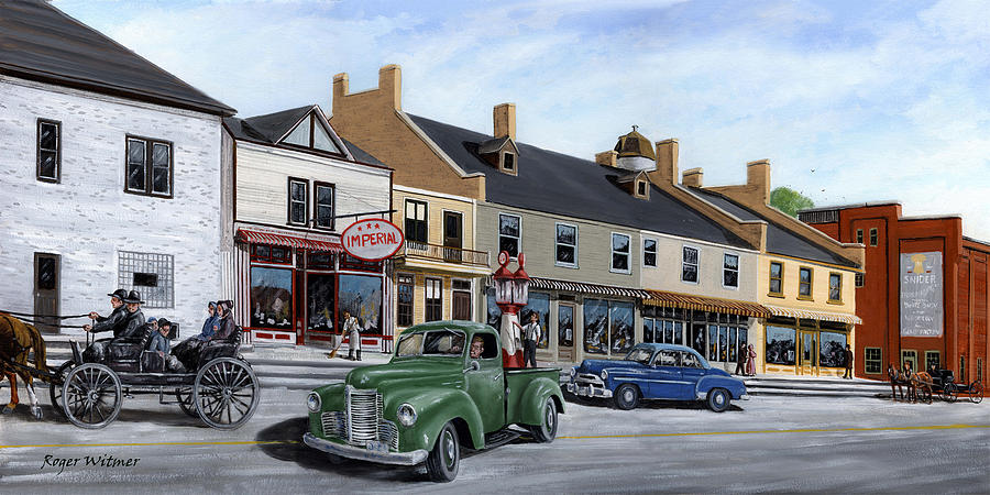 Esso Painting - Village of St. Jacobs by Roger Witmer
