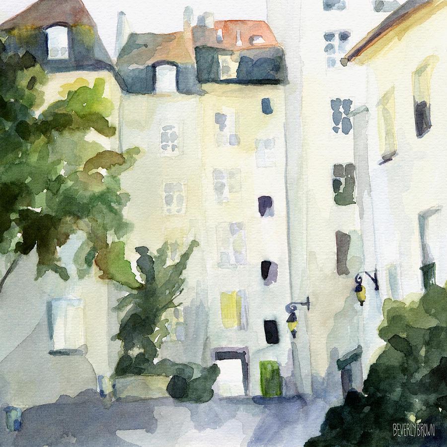 Fine watercolor art for sale - Marais Painting Village Saint Paul Watercolor Painting Of Paris By Beverly Brown Prints