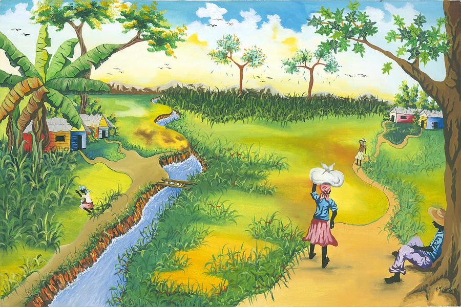 Village scene painting by herold alveras haiti painting village scene by herold alveras m4hsunfo