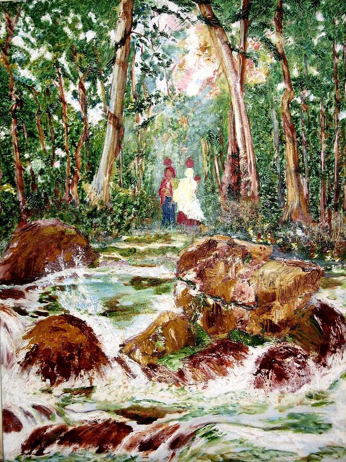 Village Painting - Village Stream by Narayan Iyer