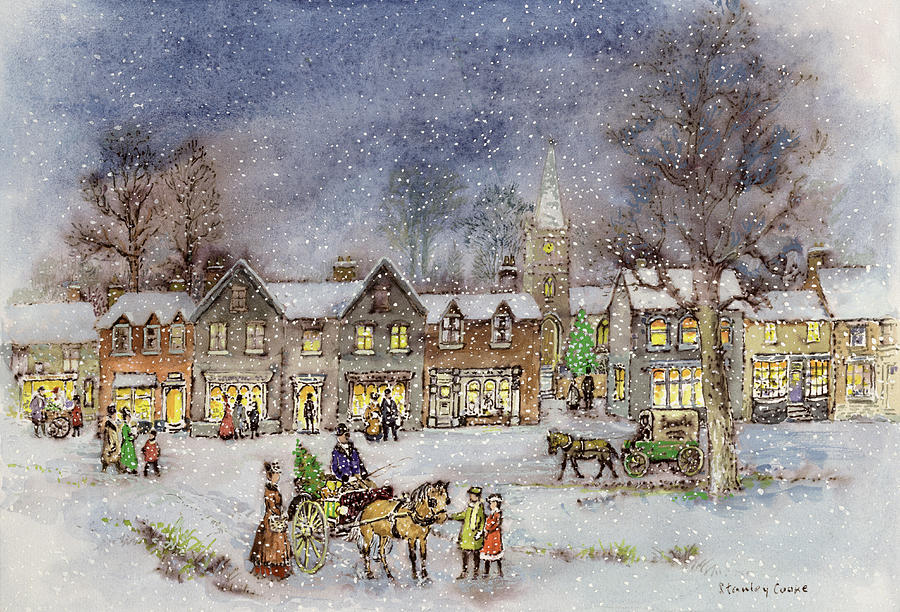 Night; Evening; Christmas; Snowing; Winter; Horse And Carriage; Victorian; Shop Painting - Village Street In The Snow by Stanley Cooke
