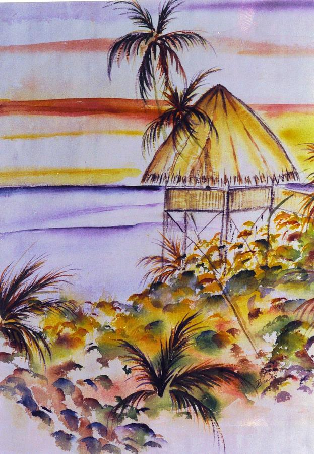 Seascape Painting - Village Sunset  by Dina Holland