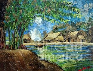 Landscape Painting Painting - Village Under Moonlight by Vy Thuc