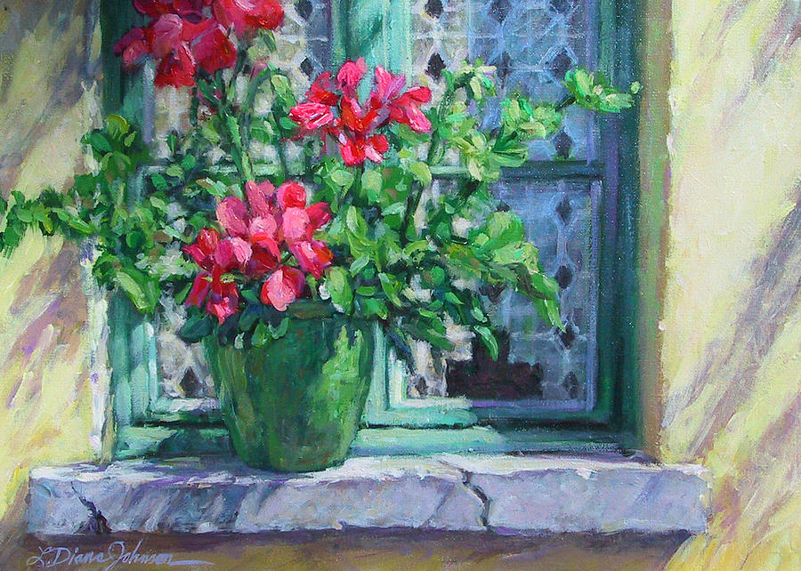 Red Geranium Painting - Village Welcome Giverny France by L Diane Johnson
