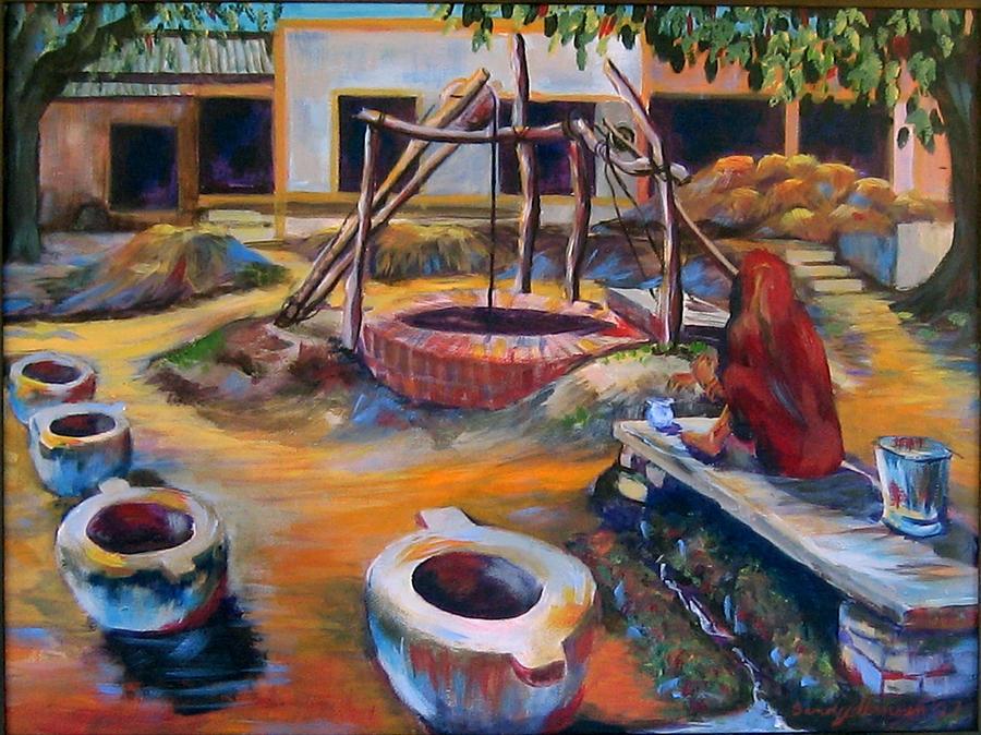 Village Painting - Village Well by Art Nomad Sandra  Hansen