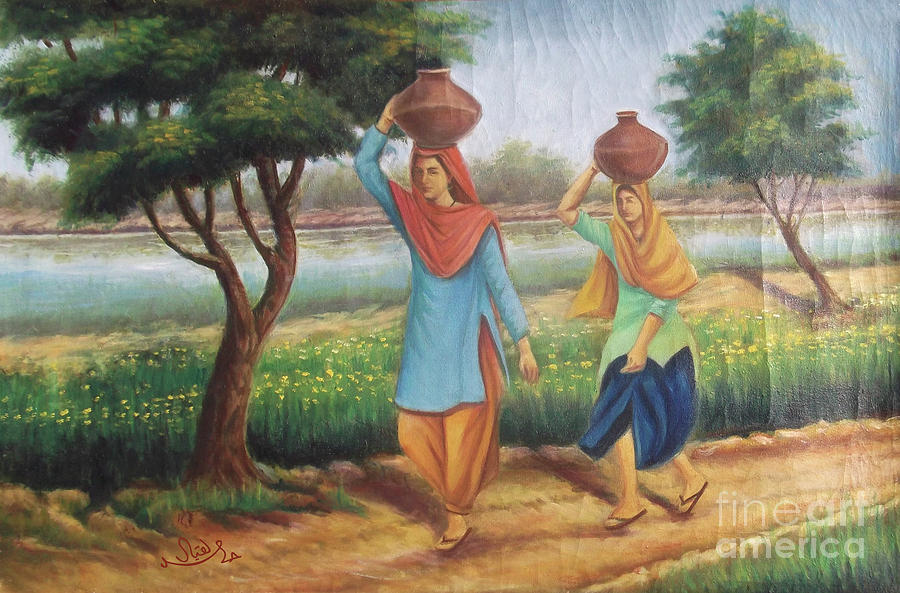 village women in the field carrying pitchers of water painting by