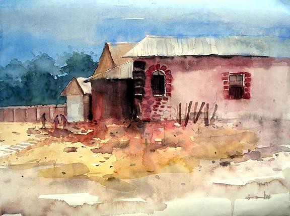 Landscape Painting - Village....watercolor by Sm Shohel Rana