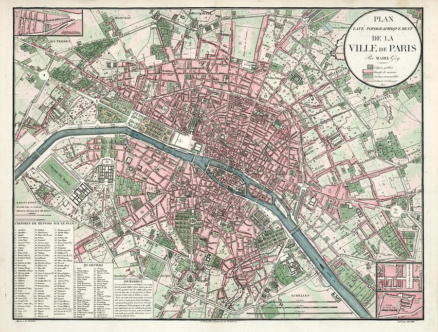 Ville De Paris - Historical Map Of The City Of Paris, 1821 - Antique on
