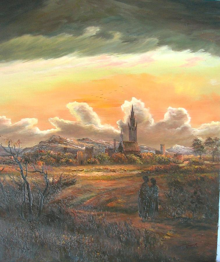 Villlage Sunset Painting by Unknown