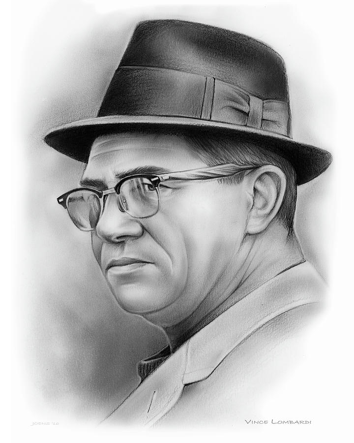 Vince Lombardi Drawing - Vince Lombardi by Greg Joens