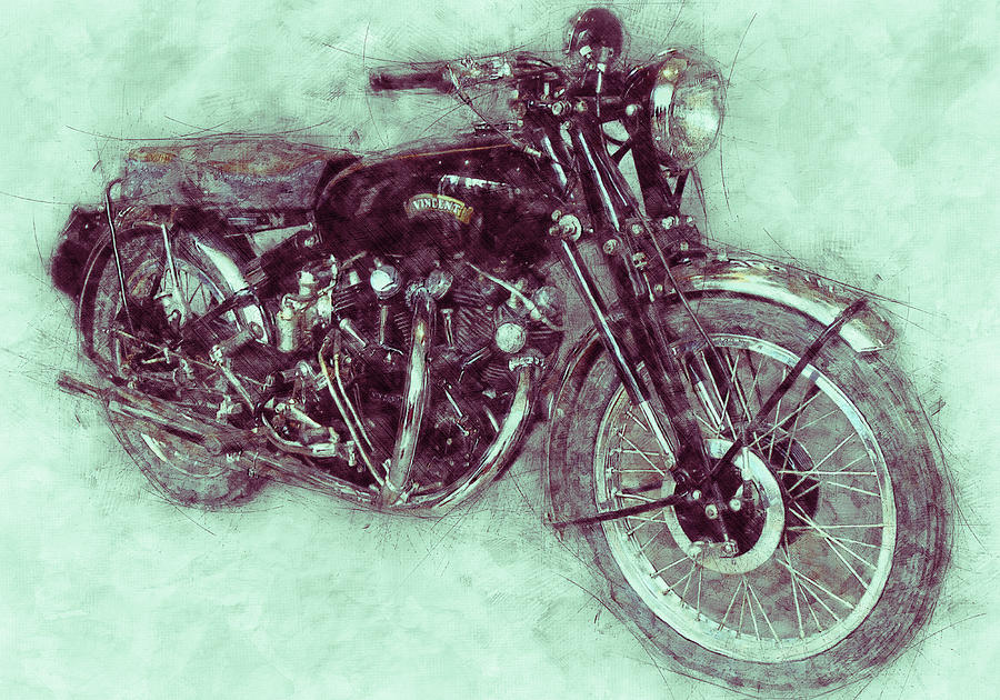 Vincent Black Shadow 3 - Standard Motorcycle - 1948 - Motorcycle Poster - Automotive Art Mixed Media