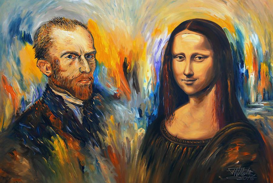 Faces Painting - Vincent Meets Mona Lisa Xl 1 by Peter Nottrott