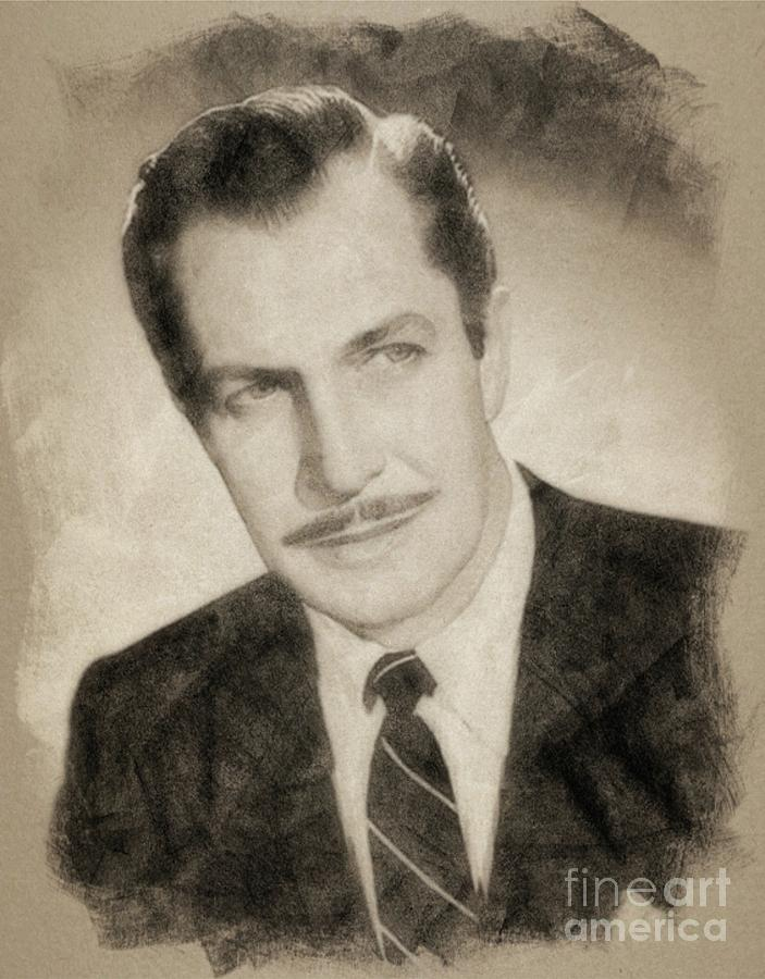Vincent Price, Hollywood Legend By John Springfield Drawing