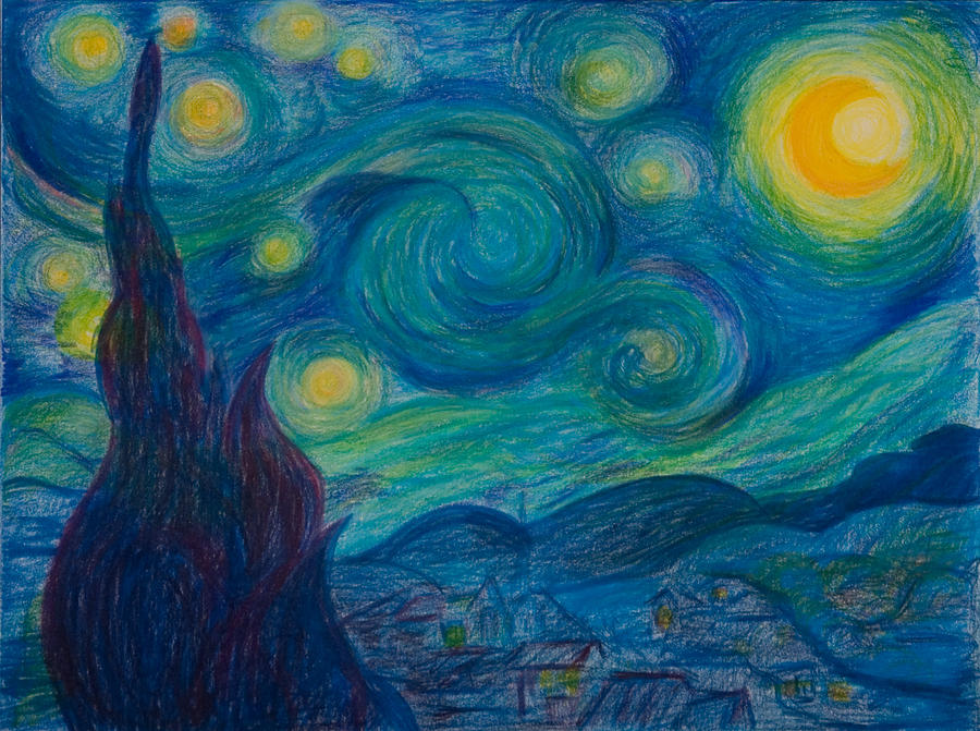Starry Night Drawing - Vincent Starry Night by Elena Soldatkina