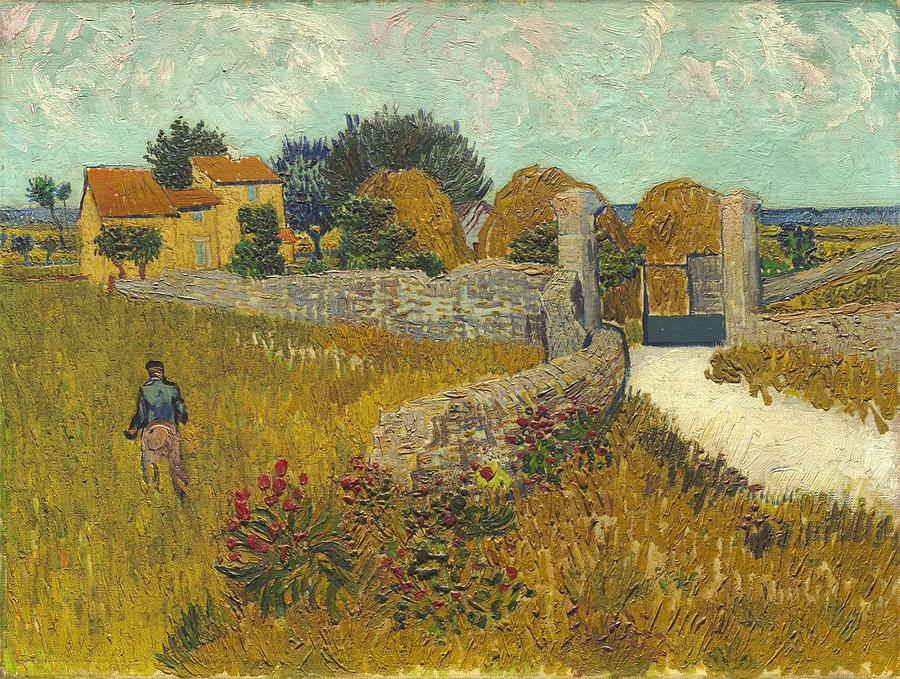 Background Painting - Vincent Van Gogh, Farmhouse In Provence by Artistic Panda