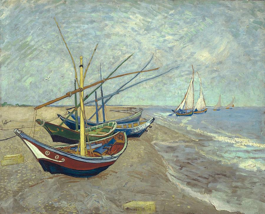Background Painting - Vincent Van Gogh  Fishing Boats On The Beach At Les Saintes Maries De La Mer by Artistic Panda