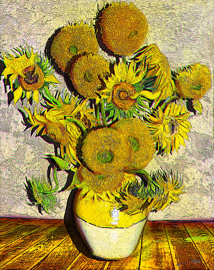 A Modern Look At Vincents Vase With 15 Sunflowers Drawing By Jose A