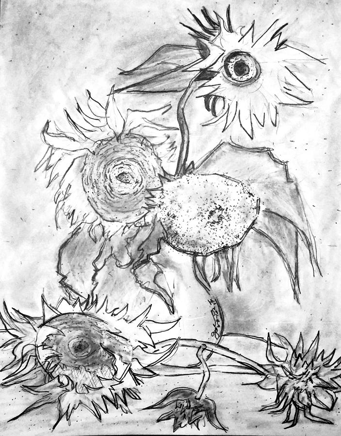 Vincents Still Life - Vase With Five Sunflowers - Revisited Drawing