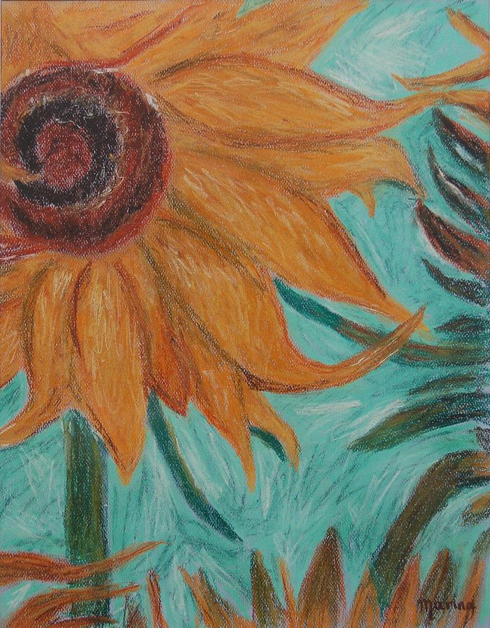 Sunflower Pastel - Vincents Sunflower by Marina Garrison