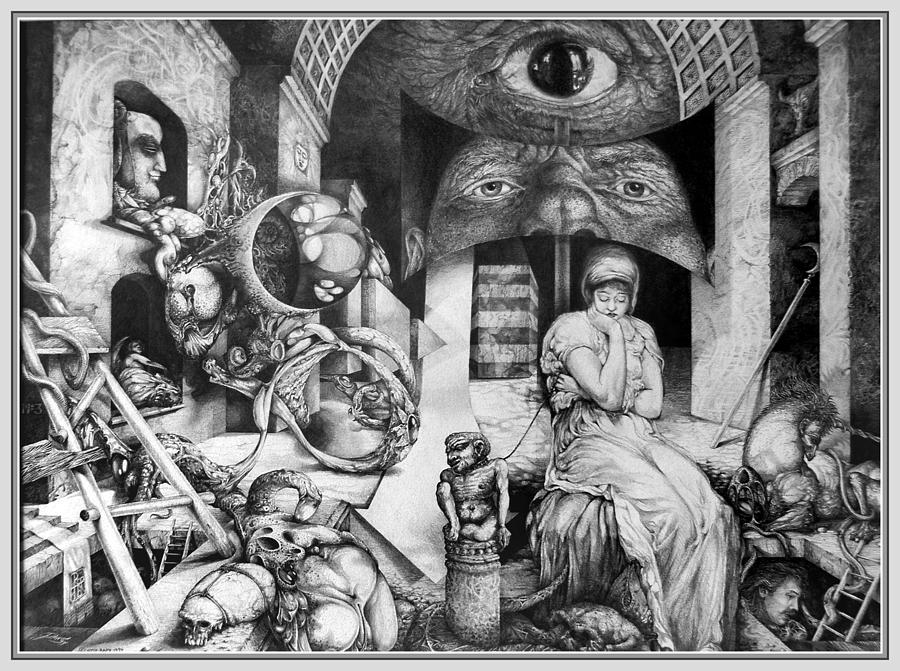 Surrealism Drawing - Vindobona Altarpiece IIi - Snakes And Ladders by Otto Rapp