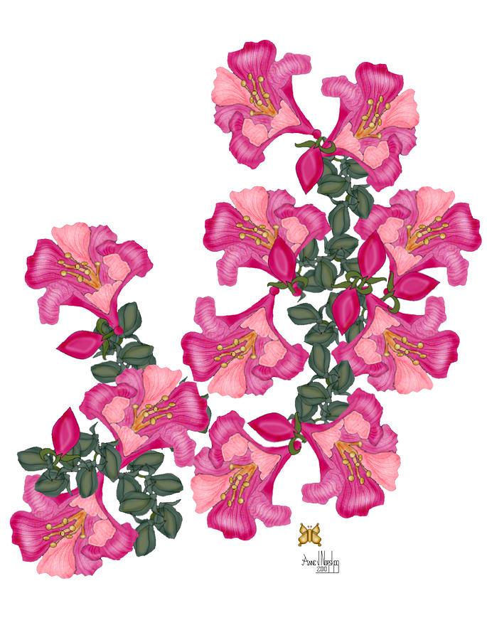 Vine flowers painting by anne norskog pink flowers painting vine flowers by anne norskog mightylinksfo