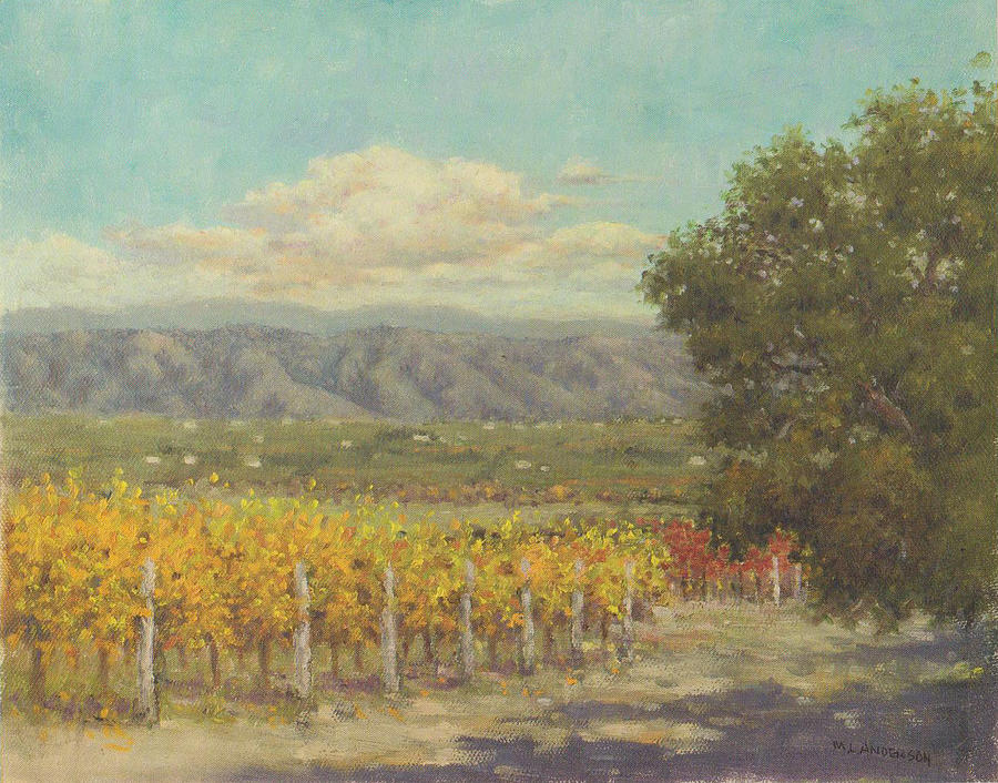 Vineyard Painting - Vineyard Above The Valley by Marv Anderson