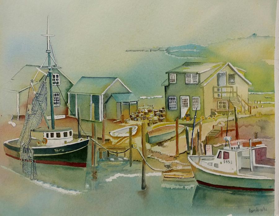 Vineyard Boats Painting by Pamela Panella