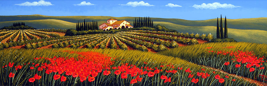 Vineyard In Tuscany Painting By Giuseppe Pino