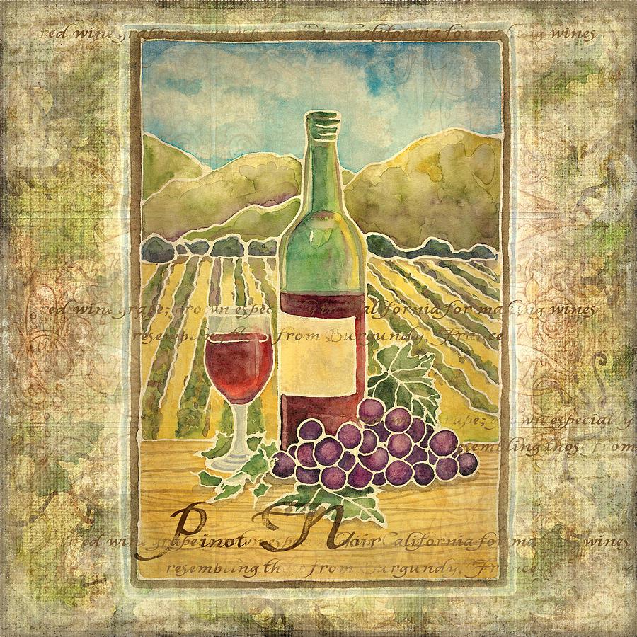 Vineyard Pinot Noir Grapes N Wine - Batik Style Painting by Audrey ...