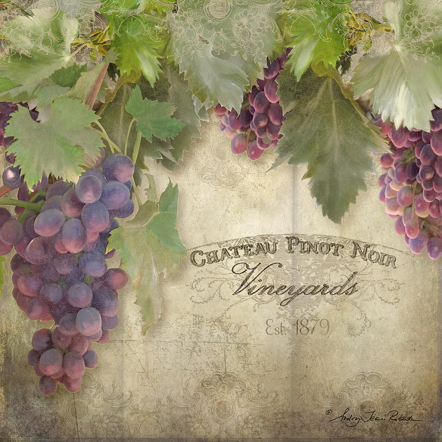 Pinot Noir Grapes Painting - Vineyard Series - Chateau Pinot Noir Vineyards Sign by Audrey Jeanne Roberts