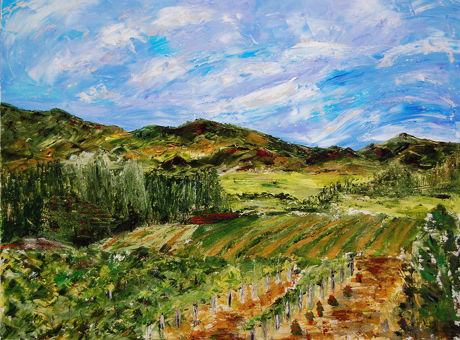 Landscape Painting - Vineyard Solitude by Deborah Gall