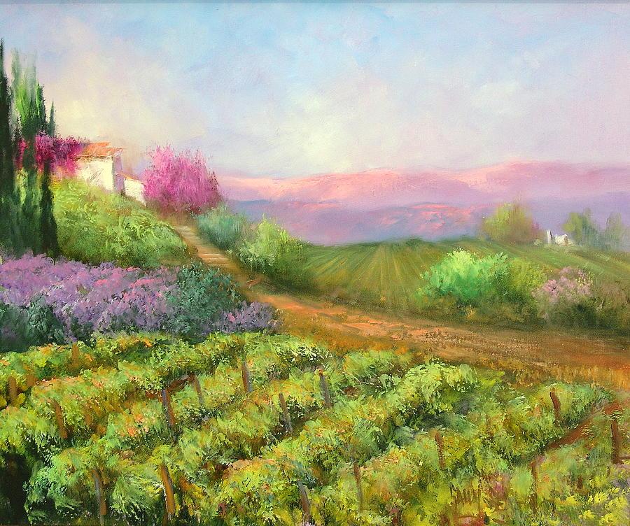 Vineyard Painting - Vineyard Spring by Sally Seago