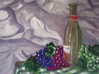 Wine And Grapes Print - Vino De Uva by Rose Wood