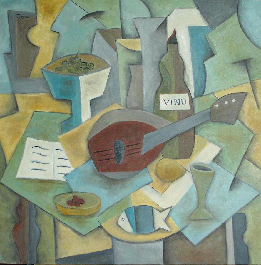Cubism Painting - Vino by Trish Toro