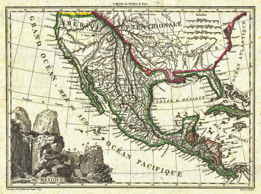 mexico photograph vintage 1810 map of mexico texas and california by stephen stookey
