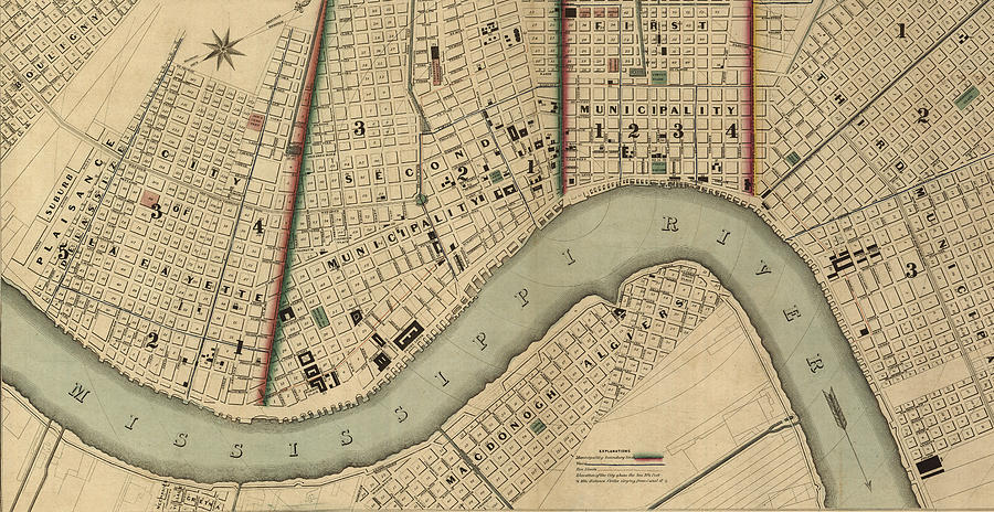 New Orleans Digital Art - Vintage 1840s Map Of New Orleans by Keith Dotson