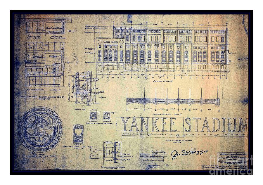 Vintage 1920s art deco yankee stadium blueprint autographed by joe yankee stadium drawing vintage 1920s art deco yankee stadium blueprint autographed by joe dimaggio by malvernweather Choice Image
