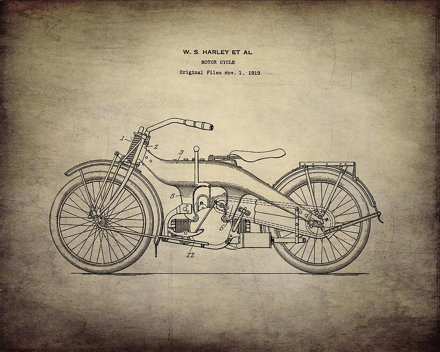 Vintage 1924 Harley Davidson Design Patent Print Digital