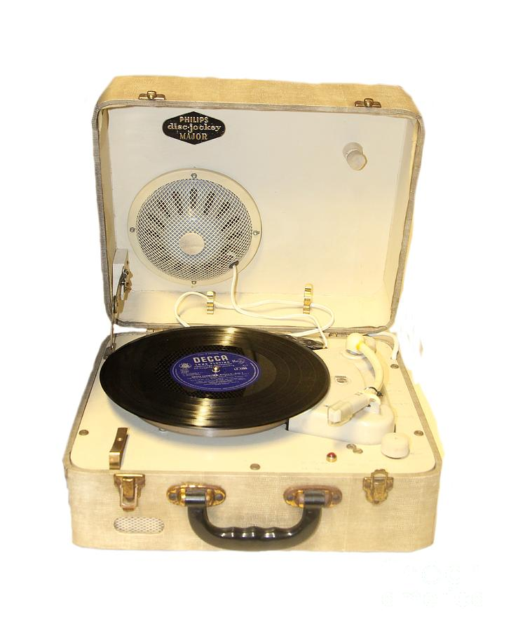 Vintage Photograph - Vintage 1950s Record Player And Vinyl Record by Tom Conway